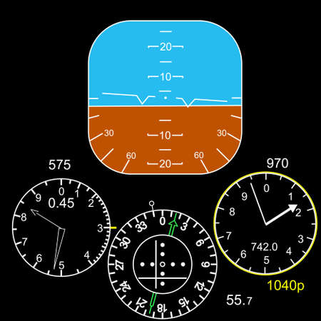 control panel: Pannello di controllo in una cabina di pilotaggio aereo Vettoriali