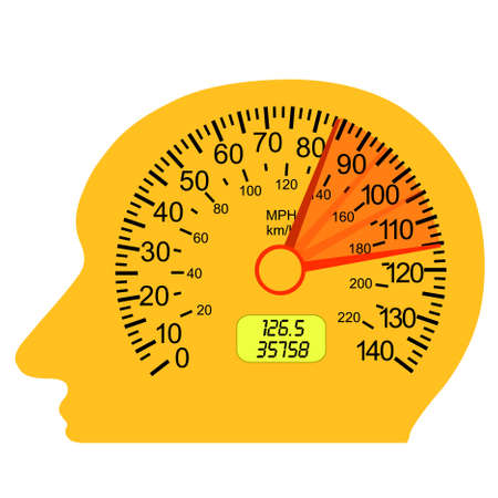car speedometer in the human brain Vector