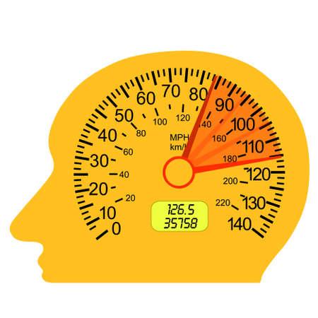 tacometro: veloc�metro del coche en el cerebro humano Vectores
