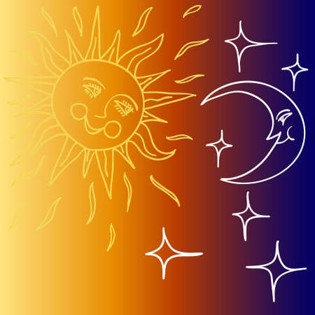 night life: Vector illustration of Moon and Sun with faces