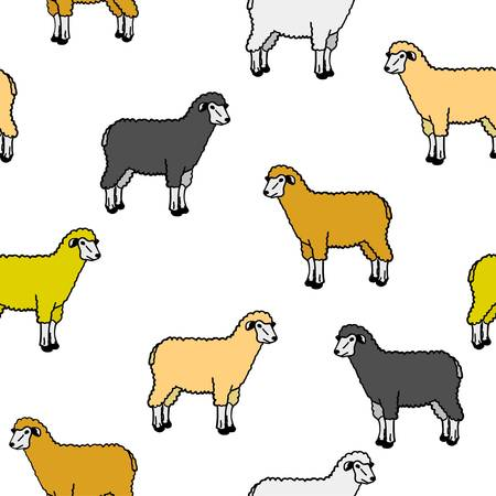 repeated: seamless wallpaper with sheep and rams