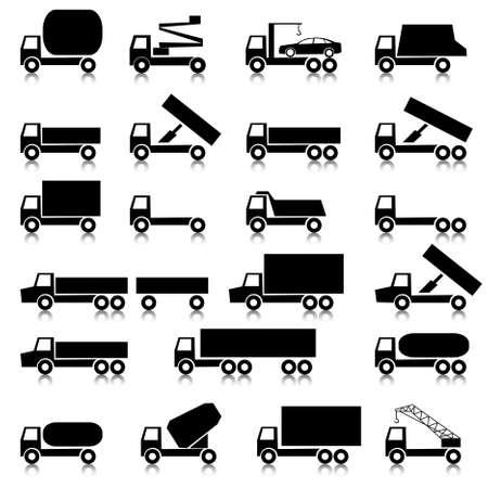 remolques: Conjunto de vectores iconos - s�mbolos de transporte.  Negro sobre blanco. Coches, veh�culos. Carrocer�a.