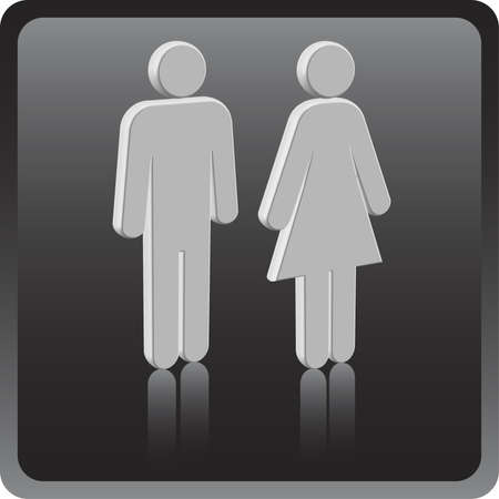 Vector Man & Woman icon over gray background Vector