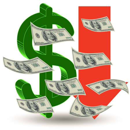 faillite: Argent crise de d�valuation Finances - la dollar symbole fl�che vers le bas-- symbolisant la faillite ou la d�valuation de la monnaie Illustration