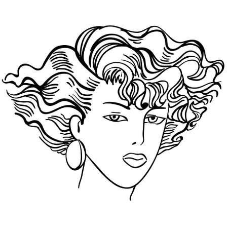 Hand-drawn fashion model. Vector illustration. Woman's face Stock Vector - 10196288