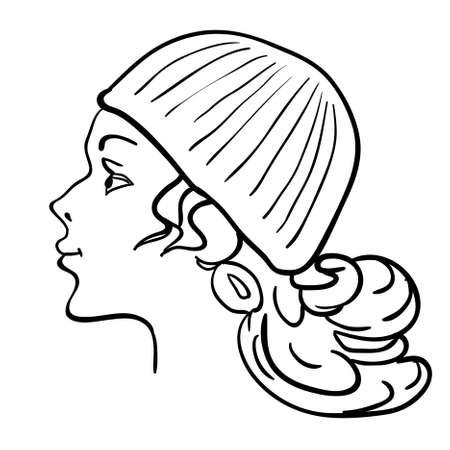 Hand-drawn fashion model. Vector illustration. Womans face a hat Vector