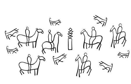 Rysunek przedstawia starożytne rysunki Ilustracje wektorowe