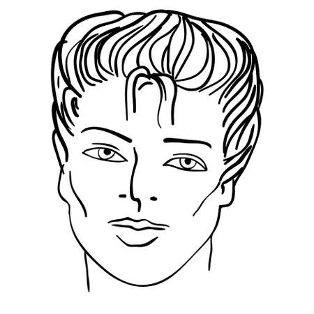 Hand-drawn fashion model. illustration. Man face Vector