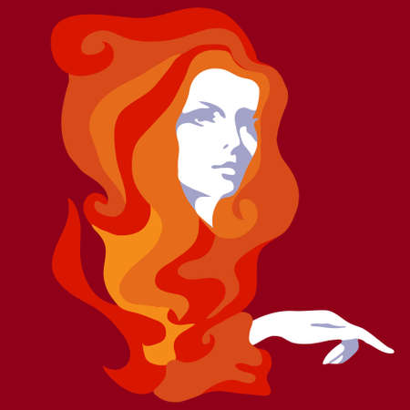 Girl with long hair Stock Vector - 10196253
