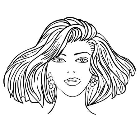 Mode-Modell von Hand gezeichnet. Illustration. Frau