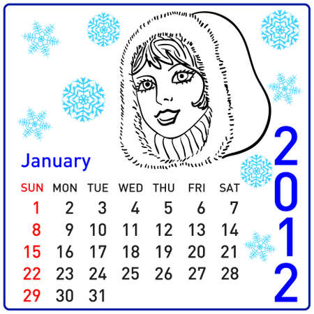 2012 year calendar in. January. Stock Vector - 10196293
