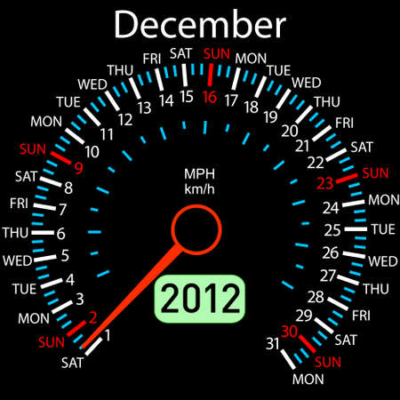 2012 year &iuml,&iquest,&frac12,alendar speedometer car   Vector