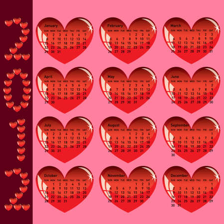 Stylish calendar with red hearts for 2012. Sundays first Stock Vector - 10224719