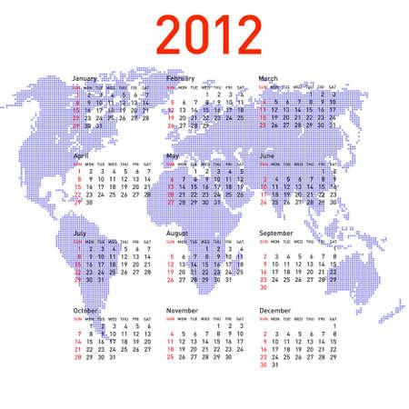 calendar 2012 with world map. Sundays first Vector