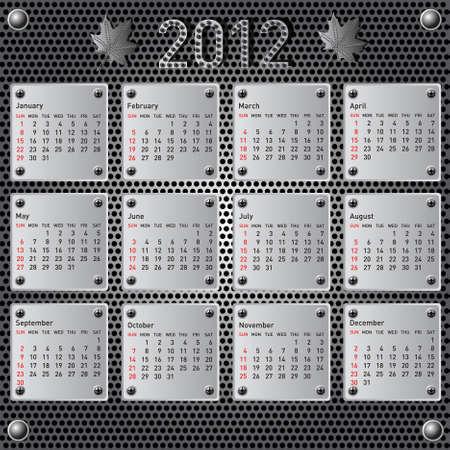 Stylish calendar with metallic  effect for 2012. Sundays first Stock Vector - 10224721
