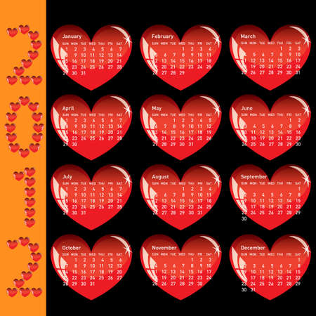 Stylish calendar with red hearts for 2012. Sundays first Stock Vector - 10255556