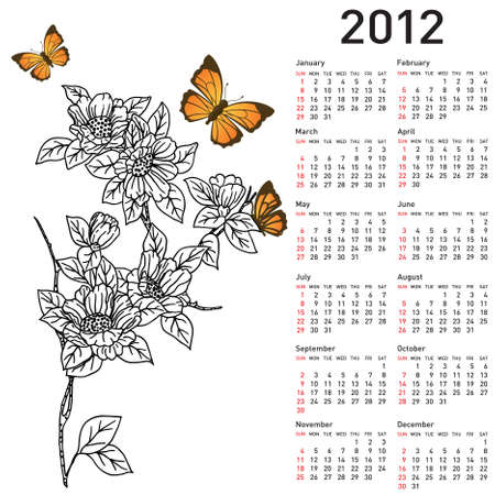 Calendar for 2012 with  flowers Vector