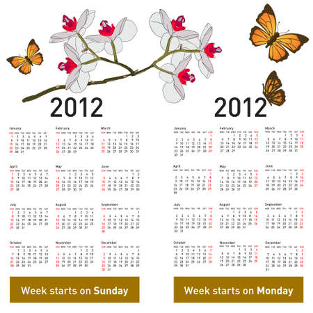Stylish calendar with flowers and butterflies for 2012. Week starts on Monday. Vector