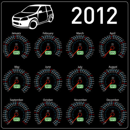 2012 year �alendar speedometer car in vector.  Vector