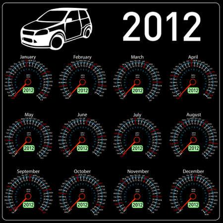 odometer: 2012 year �alendar speedometer car in vector.