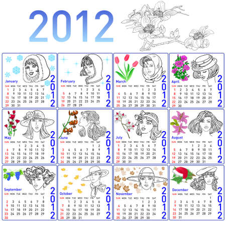 2012 year calendar in vector. Hand-drawn fashion model. Vector