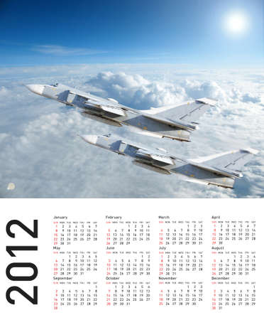 Calendar 2012 with plane image.  Vector illustration Stock Illustration - 10307647