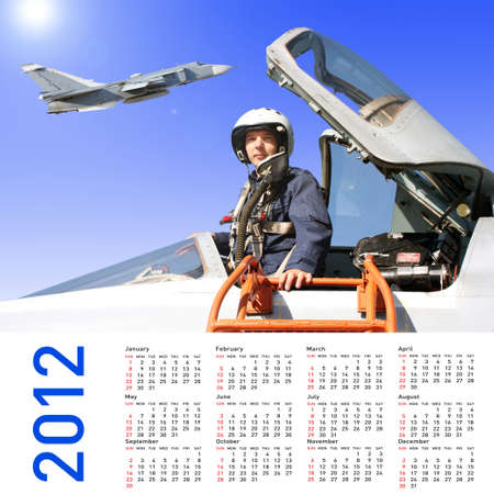 2012 Calendar with a military pilot and aircraft photo