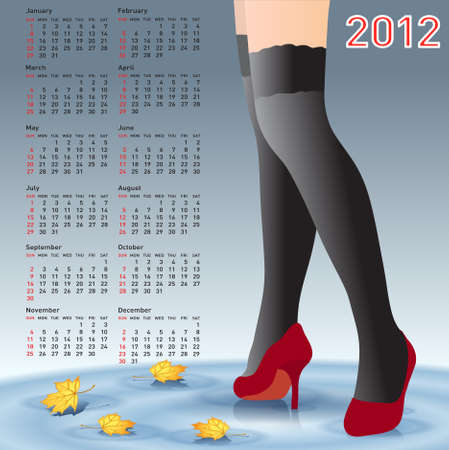 legs stockings: 2012 Calendar female legs in stockings Illustration