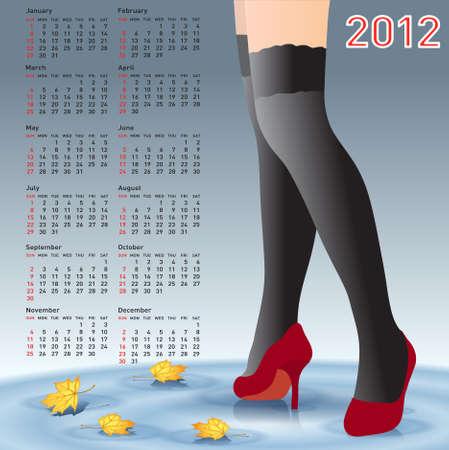 piernas de mujer: Piernas mujeres del 2012 calendario en medias Vectores