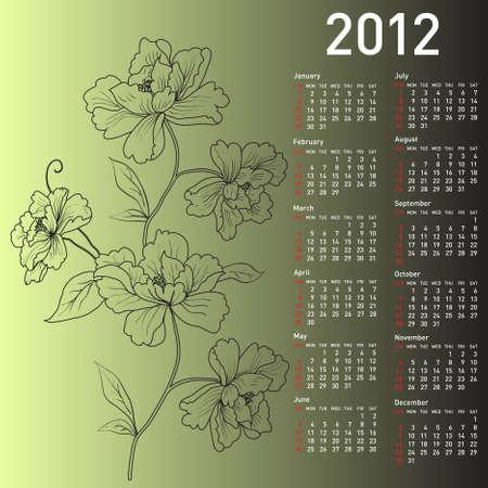 2012 calendar with flowers Stock Vector - 10307641
