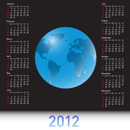 almanac: A globe Calendar for 2012 Illustration