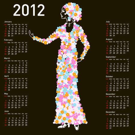 2012 calendar with woman spring Vector