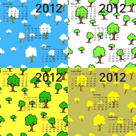 seamless wallpaper 2012 calendar days of the year Vector