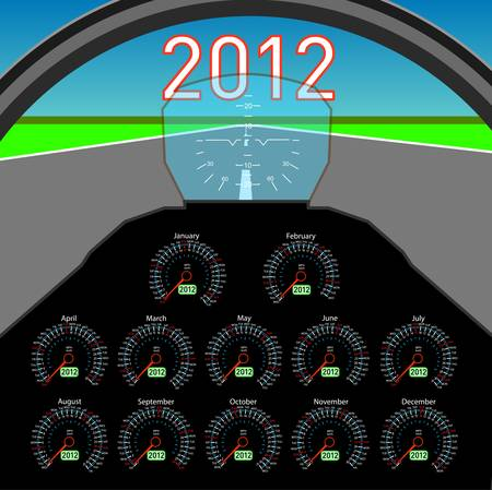 Stylish calendar  in the form of instruments in the cockpit for 2012. Stock Vector - 10362126