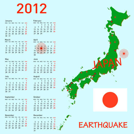 Calendar Japan map with danger on an atomic power station for 2012. Week starts on Monday. Vector