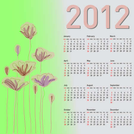 Stylish calendar with flowers for 2012. Week starts on Sunday. Vector