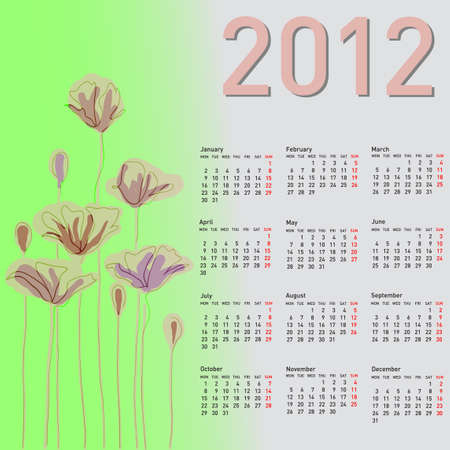 Stylish calendar with flowers for 2012. Week starts on Monday. Vector