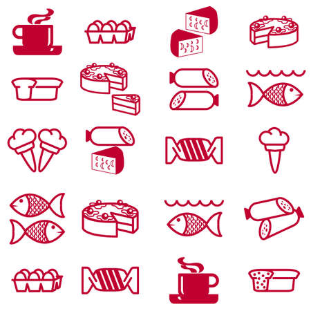 set of silhouettes of icons on the food theme Stock Vector - 10410802
