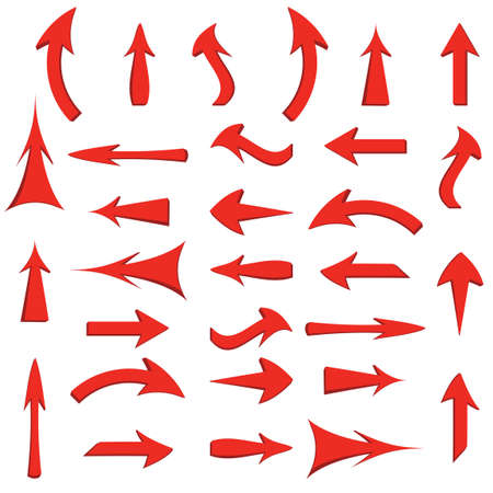 pointing up: set of red arrows Illustration