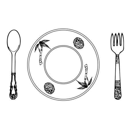 cartoon plate, fork and spoon Vector