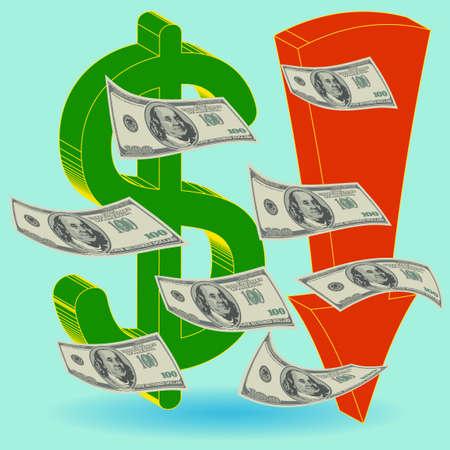 demise: Crisis finance - the dollar symbol  arrow downward - devaluation money - symbolizing the bankruptcy or devaluation of money
