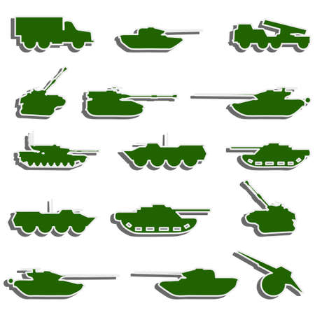 Tanks, artillery and vehicles from second world war  stickers Vector