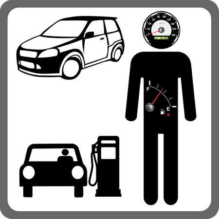 Vector Man icon with the fuel gauge in my stomach and speedometer instead of the head. Stock Vector - 10574533
