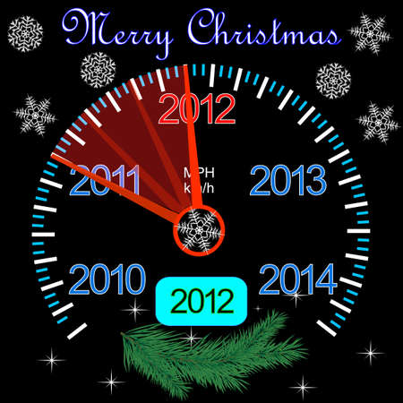 2012 counter on the dashboard for new year Vector