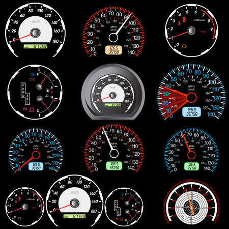 velocímetro: Conjunto de velocímetro de coches de carreras de diseño.