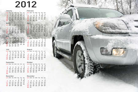 Stylish calendar with car for 2012. Week starts on Sunday. photo