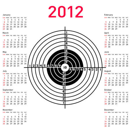 target practice: calendar with target for shooting practice at a shooting range with a pistol for 2012. Week starts on Sunday.