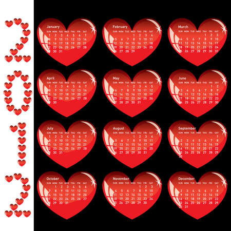 sundays: Stylish calendar with red hearts for 2012. Sundays first