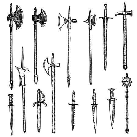 Colección de armas, armas medievales Ilustración de vector