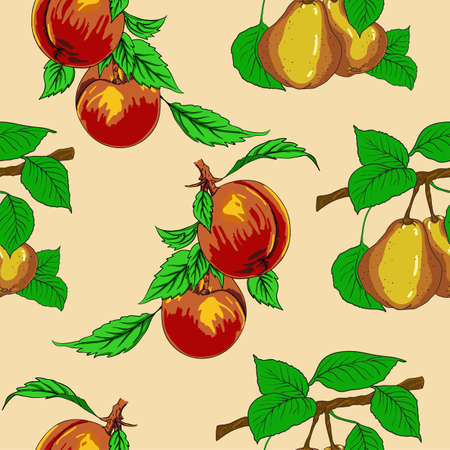 Seamless wallpaper with peaches and pears. Vector